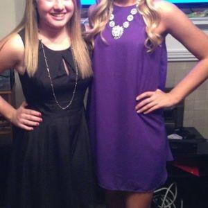 Purple high neck flowy dress